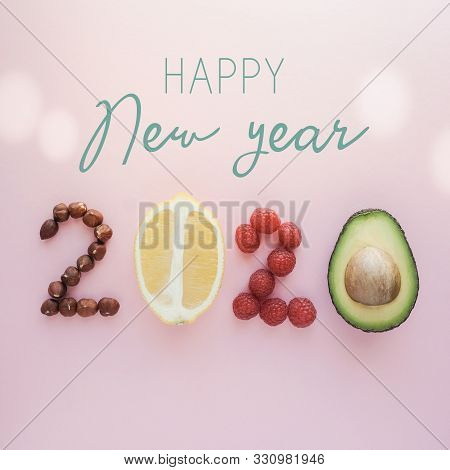 Happy New Year2020 Made From Healthy Food On Pastel Background, Healthy New Year Resolution Diet And