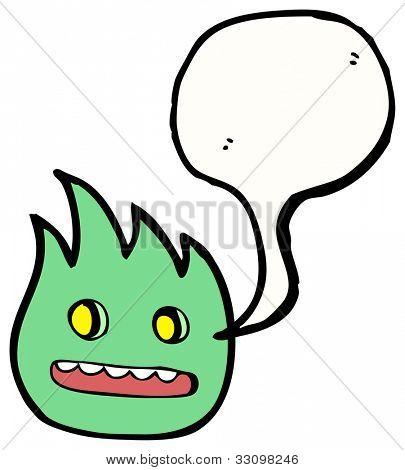 cartoon little green fire spirit poster