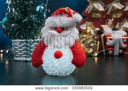 Christmas Holiday Background Concept With Toys, Decorations, Ornaments