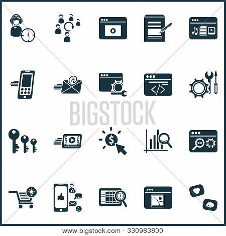 Business Icons Set With Keyword Ranking, Audience Engagement, Pay Per Click And Other Programming El