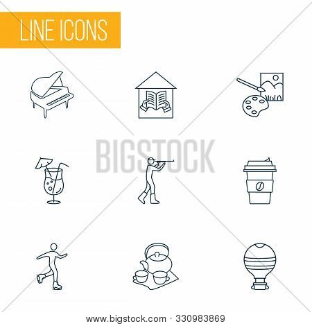 Lifestyle Icons Line Style Set With Coffee, Cocktail, Hunting And Other Porcelain Elements. Isolated