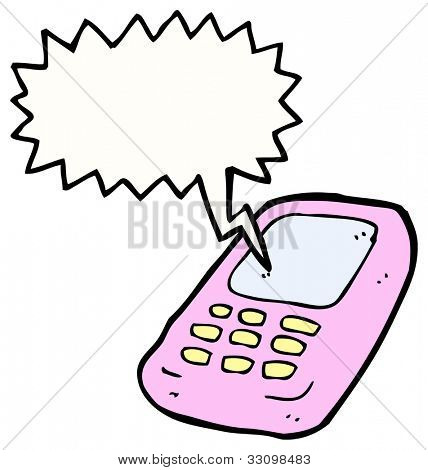 cartoon ringing mobile phone