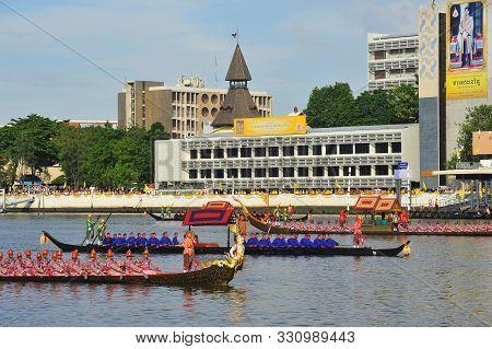 Bangkok, Thailand -  17 October 2019 : Big Training Of The Royal Barges Procession, The Last Royal C