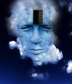 A very abstract and conceptual image of a mans face all about imagination and open mindness. poster