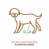 Dog behavior problem icon. Domestic animal or pet language. Eliminating inside. Doggy reaction. Simple icon, symbol, sign. Editable vector illustration isolated on white background poster