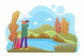 Birdwatcher with binoculars flat vector illustration. Nature lover cartoon character. Man looking at landscape in autumn day. Birdwatching, wildlife observation, birding. River, forest, lake poster