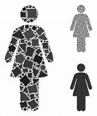 Woman mosaic of joggly pieces in different sizes and color hues, based on woman icon. Vector trembly pieces are grouped into mosaic. Woman icons collage with dotted pattern. poster