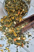 Healthy herbal concept. Tea for a beautiful complexion on a wooden table. poster