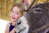 6 year old girl smiling next to grey donkey in petting zoo poster
