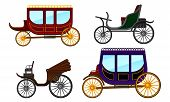 Carriage Vintage Vehicles With Old Wheels Vector Set poster