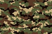 Camouflage seamless pattern. Trendy style camo, repeat print. Vector illustration. Khaki texture, military army green hunting poster