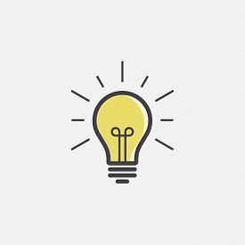 Vector Image Lamp. Lightbulb Icon Design, Lightbulb Linear Icon Vector, Idea Sign Icon, Solution Ico