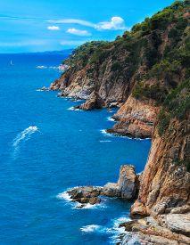 Mountain Cilff Along The Spanish Coastline At Summer. Lloret De Mar, Spain.