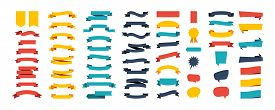 Colorful Vector Ribbon Banners. Set Of Ribbons Banners With Label, Tag And Quality Badges. Banners S