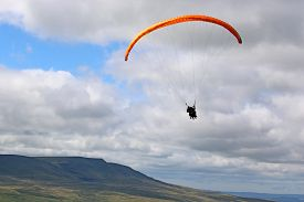 Tandem Paraglider In The Brecon Beacons, Wales