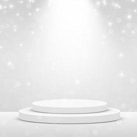 Stage Podium Scene For Award Ceremony Illuminated With Spotlight. Award Ceremony Concept. Stage Back