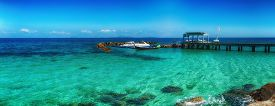 Seascape Panorama Of Little Docks At Tropical Island. Thailand, Maiton Island.