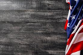 American Flag On Dark Background. Flag Veterans Day Concept