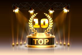Top 10 Best Podium Award Sign, Golden Object.