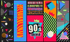 90s And 80s Poster. Nineties Forever. Retro Style Textures And Alphabet Mix. Aesthetic Fashion Backg