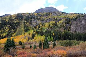 Fall Landscape Of Colorado With Mountains, Usa