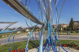 Bale, Croatia - October 25, 2019: Modern Stainless Steel Installation Called