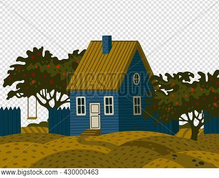 Suburban House - Dacha. Rural Landscape With Blue Barn House In Rustic Style And Green Fruit Garden