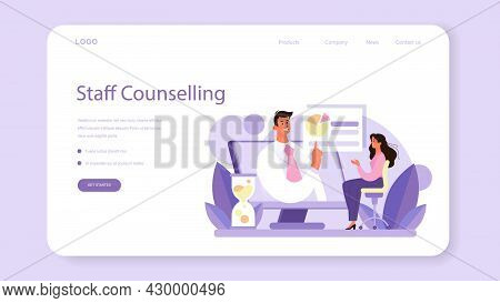 Staff Counselling Web Banner Or Landing Page. Personnel Manager Providing