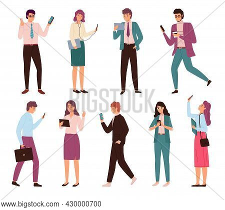Business People With Gadgets. Men And Women In Biz Suits Use Digital Devices, Laptop, Tablet And Sma