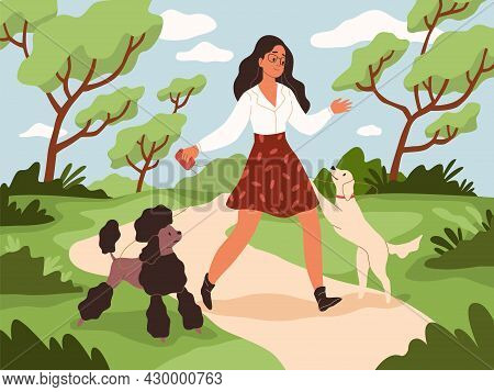 Walk With Dog. Young Woman And Happy Dogs On Leashes In City Park, Owner And Pets Play Outdoor, Funn