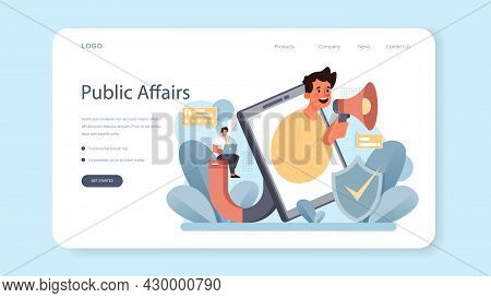 Government Pr Web Banner Or Landing Page. Political Party