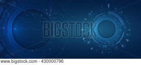Futuristic Composition Of High-tech Elements On A Blue Background. Computer Technologies For Present