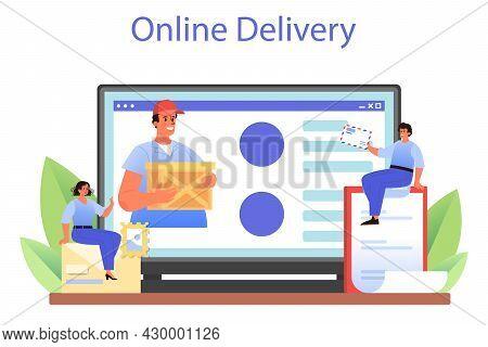 Postman Profession Online Service Or Platform. Post Office Staff