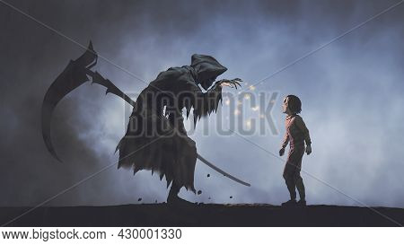 The Death As Know As Grim Reaper Seducing The Child With Glowing Butterflies, Digital Art Style, Ill