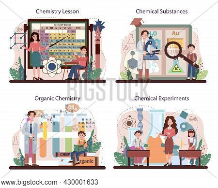 Chemistry School Lesson Set. Student Learning Chemical Formula