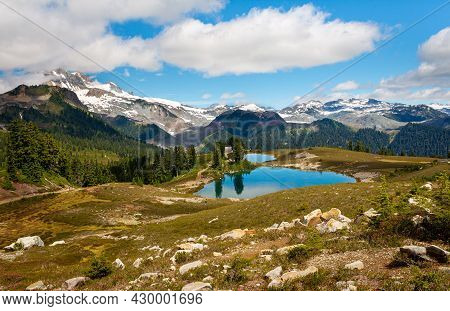 A Sunny Day At Elfin Lake With Water Reflections In Garibaldi Provincial Park Near Whistler, Bc, Can