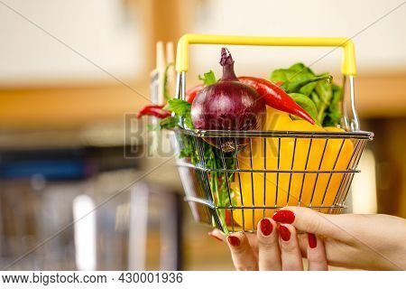 Shopping Basket With Many Colorful Vegetables. Healthy Eating Lifestyle, Nutrients Vegetarian Food.