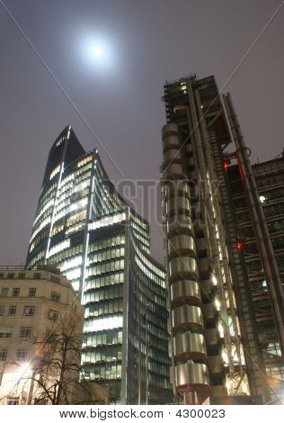 Lloyds building in London taken at full moon  poster