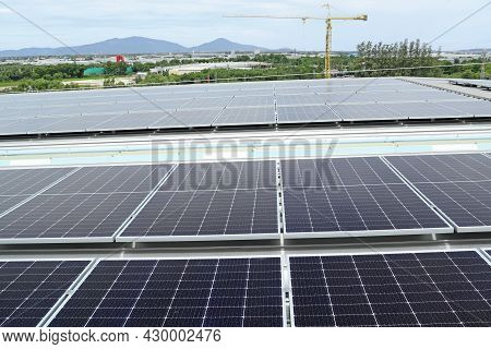 Solar Pv Rooftop System In Mountain Background