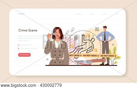 Professional Detective Web Banner Or Landing Page. Agency Investigating
