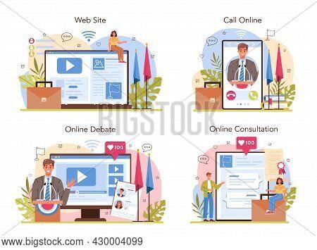 Politician Online Service Or Platform Set. Election And Democratic Governance