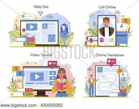 Translator Online Service Or Platform Set. Linguist Translating Text