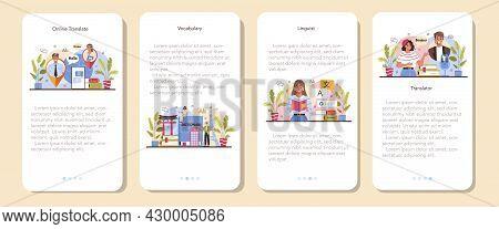 Translator Mobile Application Banner Set. Linguist Translating Document