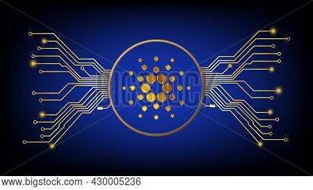 Gold Cardano Ada Cryptocurrency Symbol In Circle With Pcb Tracks On Dark Background. Design Element