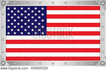 American Flag In A Metal Frame With Rivets.