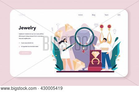 Jeweler Web Banner Or Landing Page. Goldsmith Examining