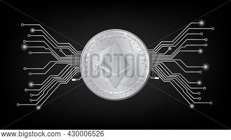 Detailed Gold Coin Ethereum Eth Token With Pcb Tracks In Black And White On Dark Background. Digital