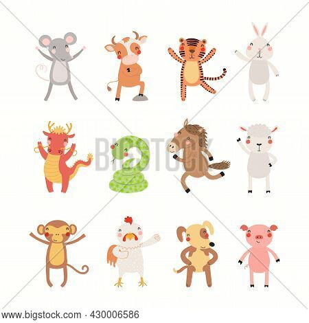 Twelve Animals Of Chinese Zodiac, Cute Cartoon Asian Astrological Signs Collection, Isolated On Whit