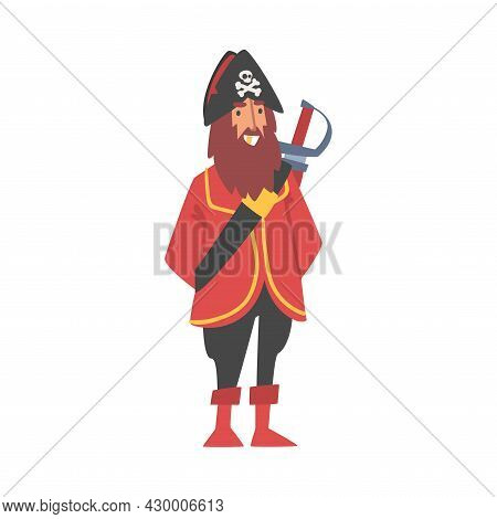 Bearded Man Pirate Or Buccaneer Character With Sabre And Hat With Crossed Bones As Marine Robber Vec