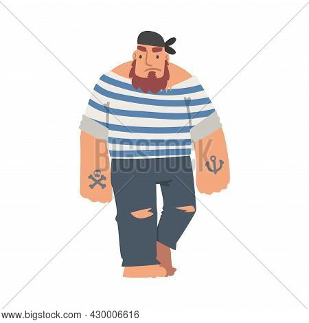 Bearded Brutal Man Pirate Or Buccaneer Character In Striped Vest And Tattooed Arm As Marine Robber V